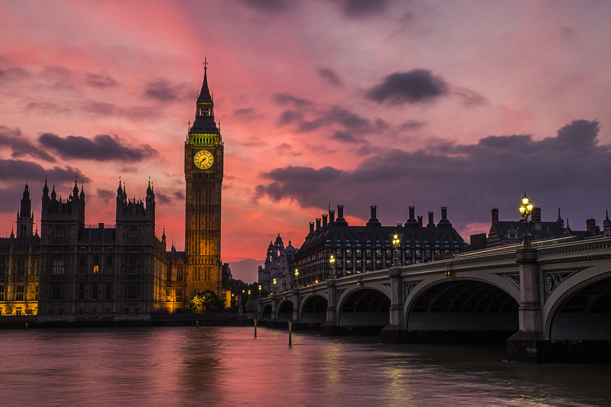 Big Ben in London at Dusk